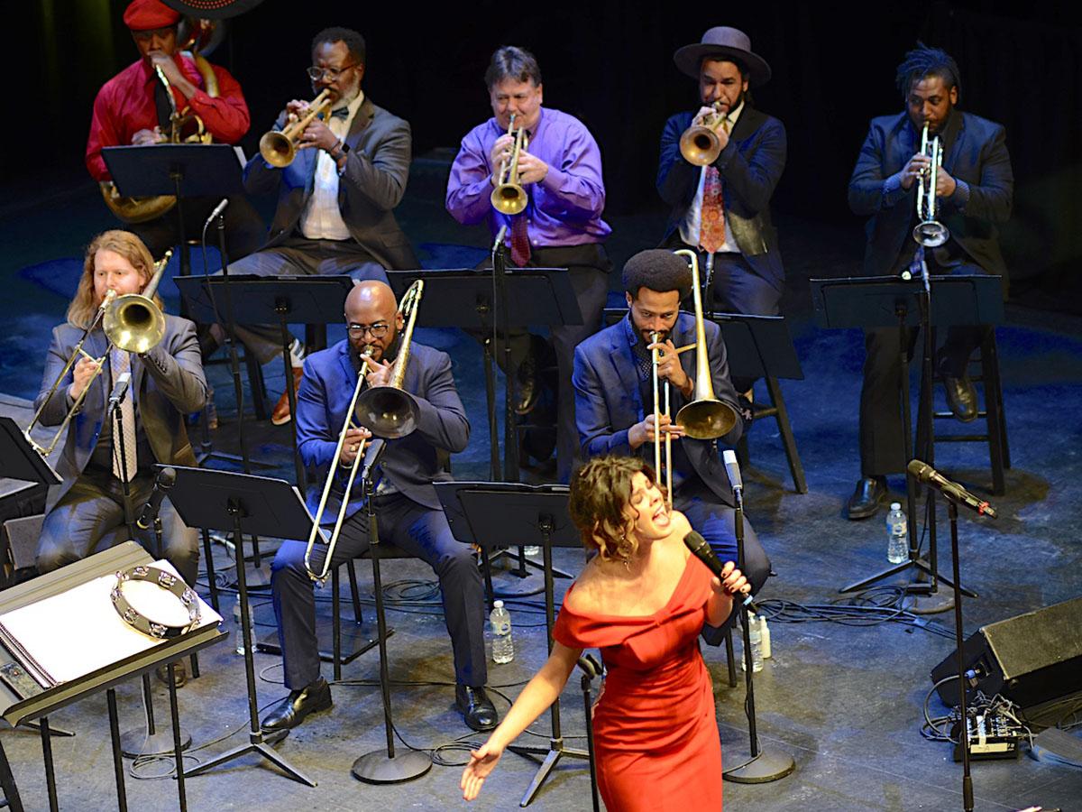 Gabrielle Cassava, trombones and trumpets section. Photo credit: Atael Weissman