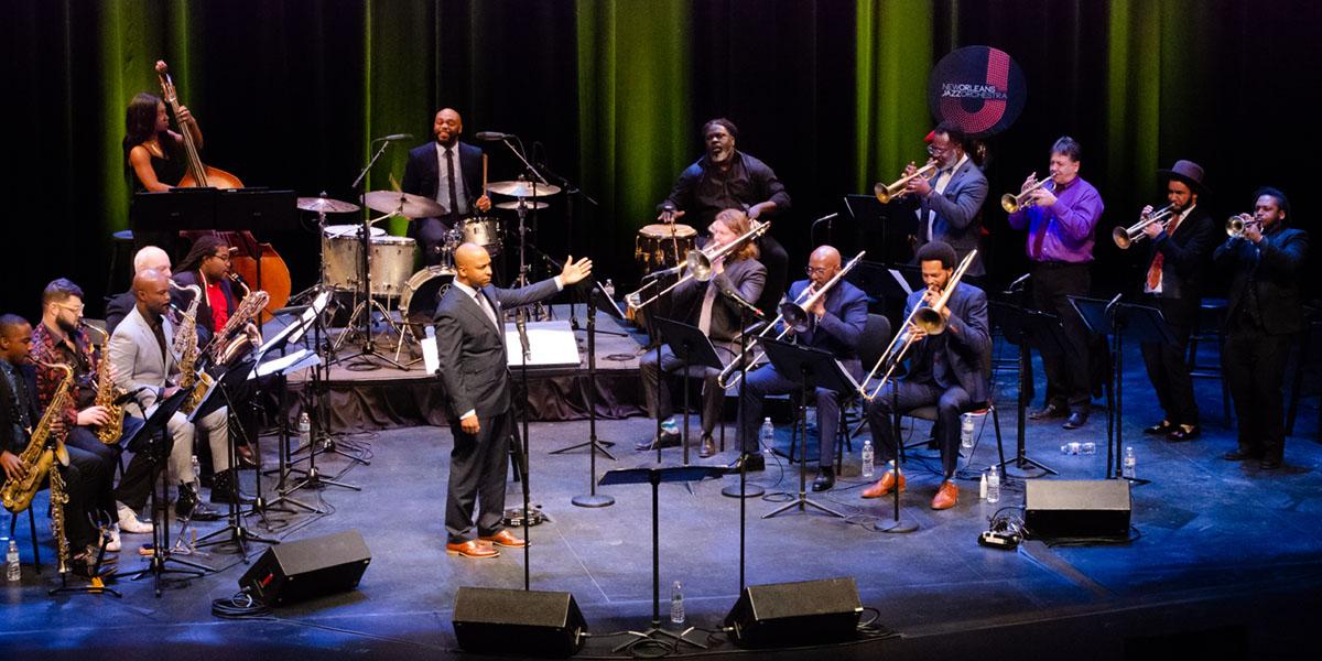 New Orleans Jazz Orchestra full band minus Victor Atkins (pianist). Photo credit: Danilo Navas