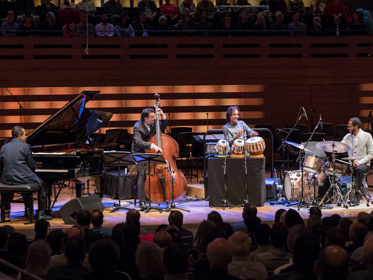 Left to right: Danilo Pérez, John Patitucci, Zakir Hussain, Brian Blade. Photo credit: The Royal Conservatory/Koerner Hall; Lisa Salulensky