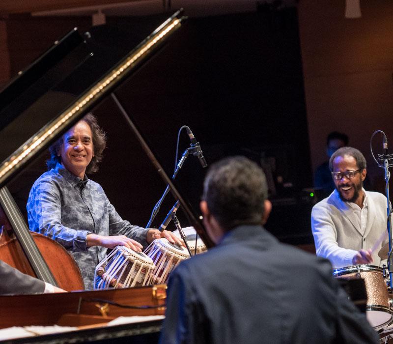 Left to right: Zakir Hussain, Danilo Pérez, Brian Blade. Photo credit: The Royal Conservatory/Koerner Hall; Lisa Salulensky